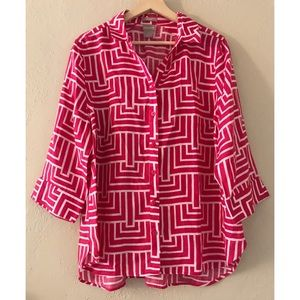 Chico's Pink Geometric Button Down Linen Shirt